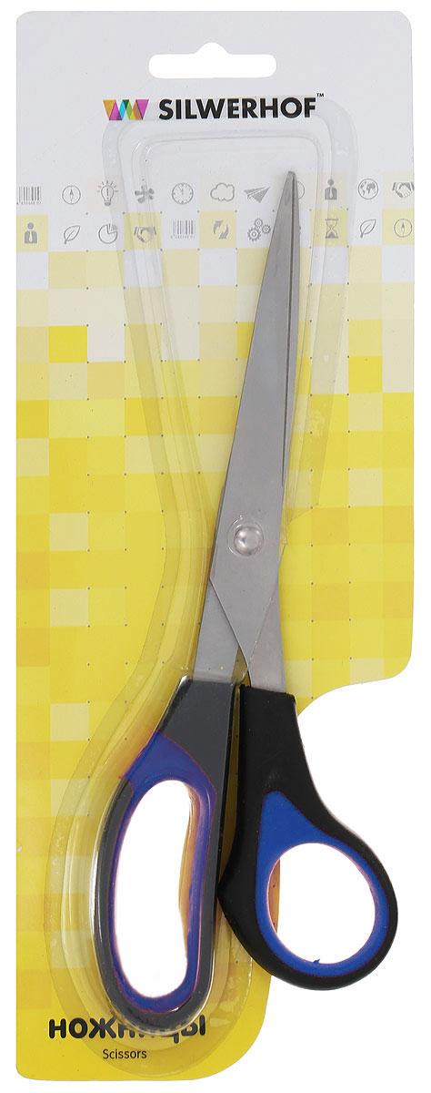 Silwerhof Ножницы офисные Softlinie цвет черный синий 21 см450057_черный, синийОфисные ножницы Silwerhof Softlinie имеют лезвия из высококачественной нержавеющей стали с титановым покрытием, а также специальные прорезиненные вставки на кольцах.Ножницы предназначены для резки бумаги, картона, фотографий.