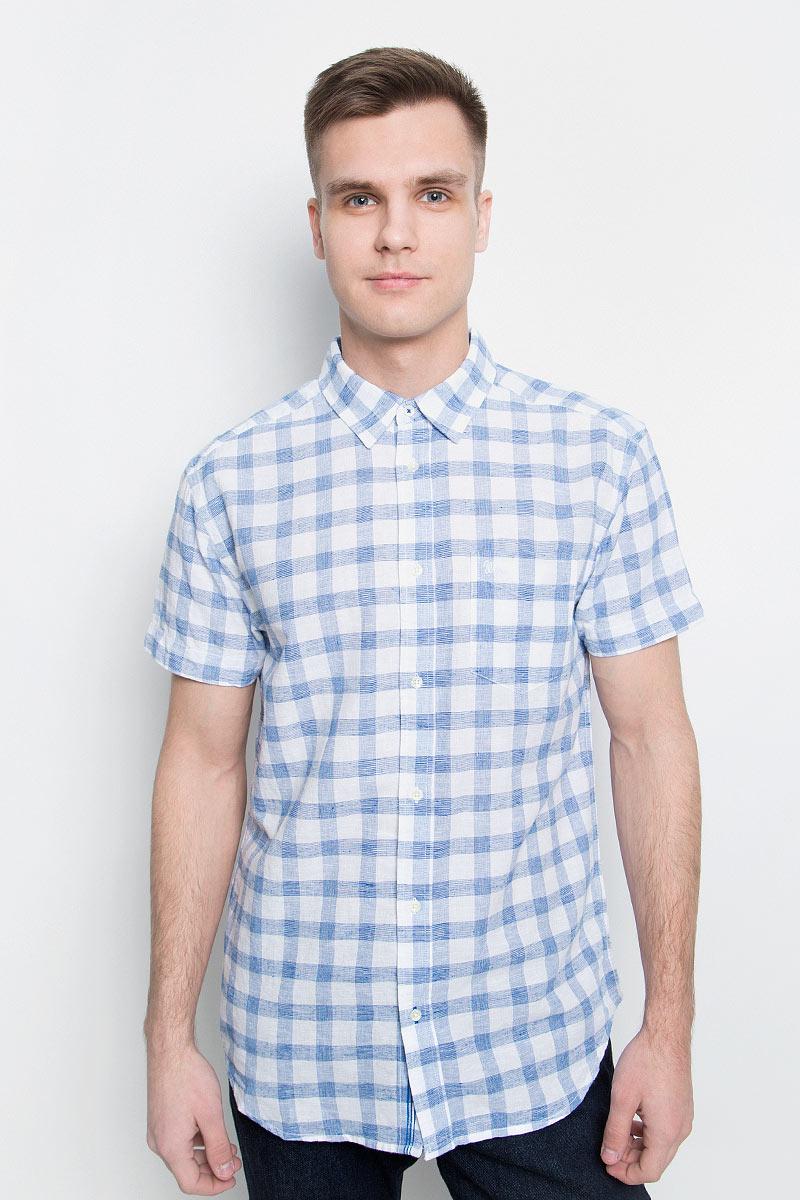 Рубашка мужская Wrangler, цвет: белый, голубой. W5950CN12. Размер M (48)