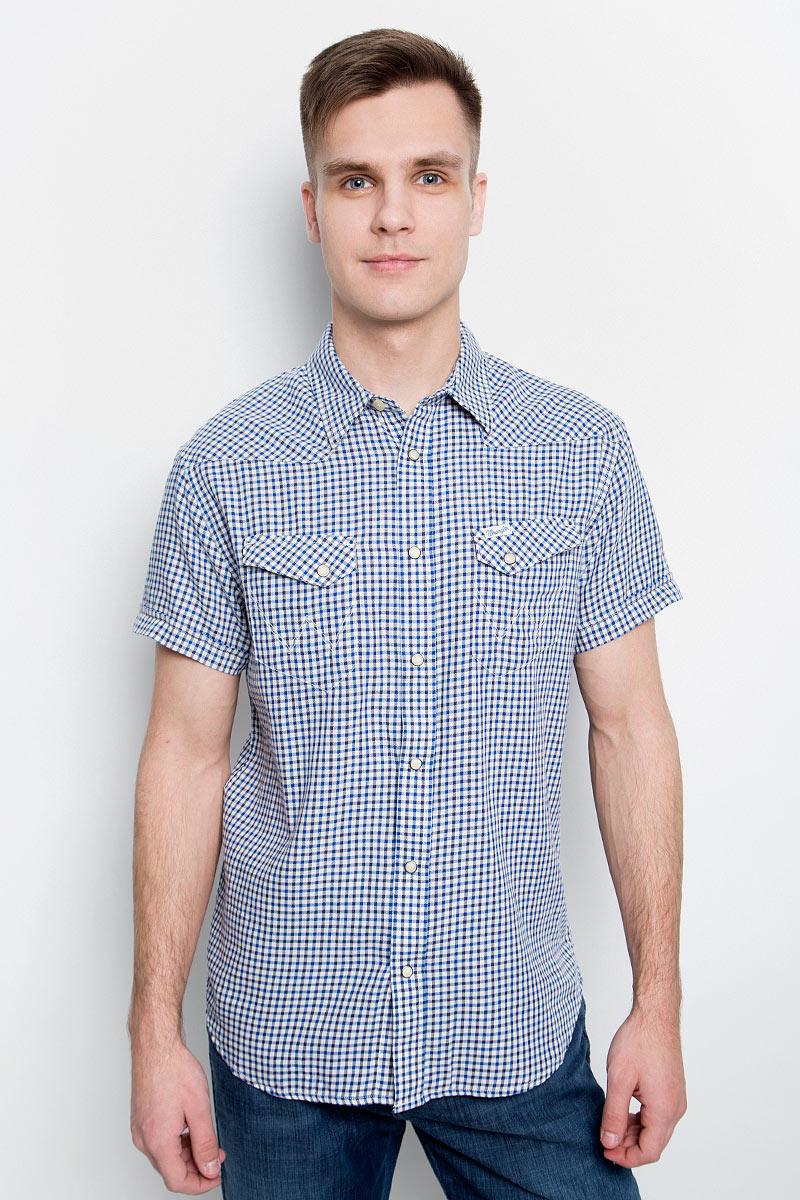 Рубашка мужская Wrangler, цвет: синий, белый. W5873MN43. Размер M (48) рубашка мужская overlord han 152 2015