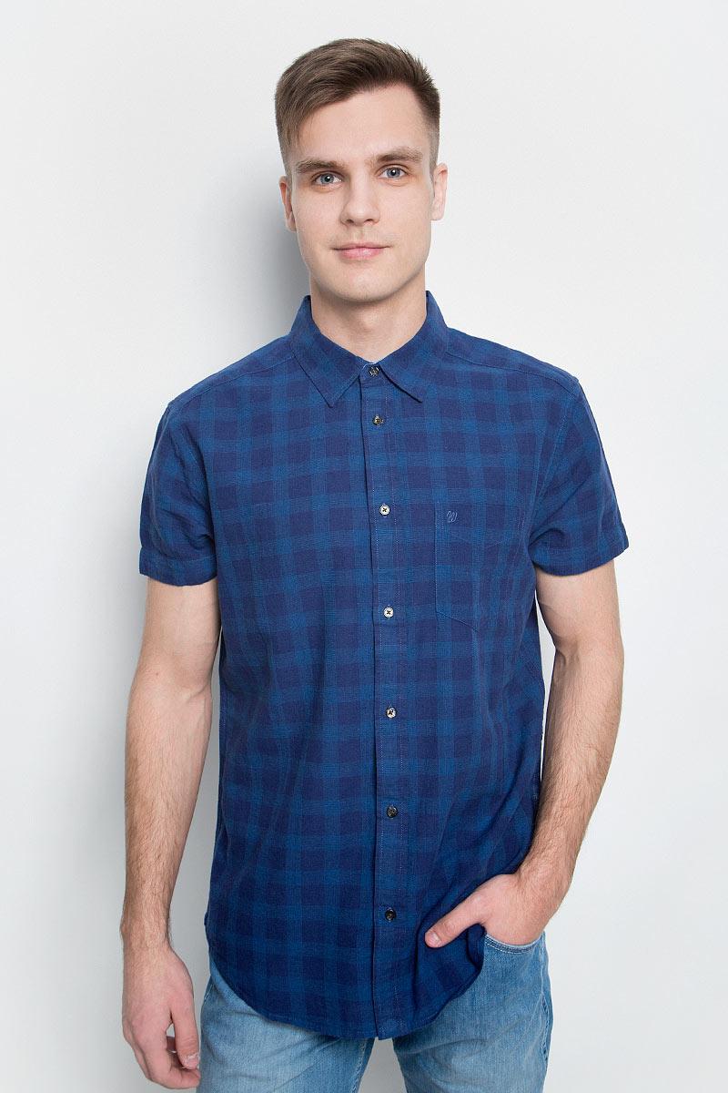 Рубашка мужская Wrangler, цвет: синий. W5950CNDF. Размер M (48)