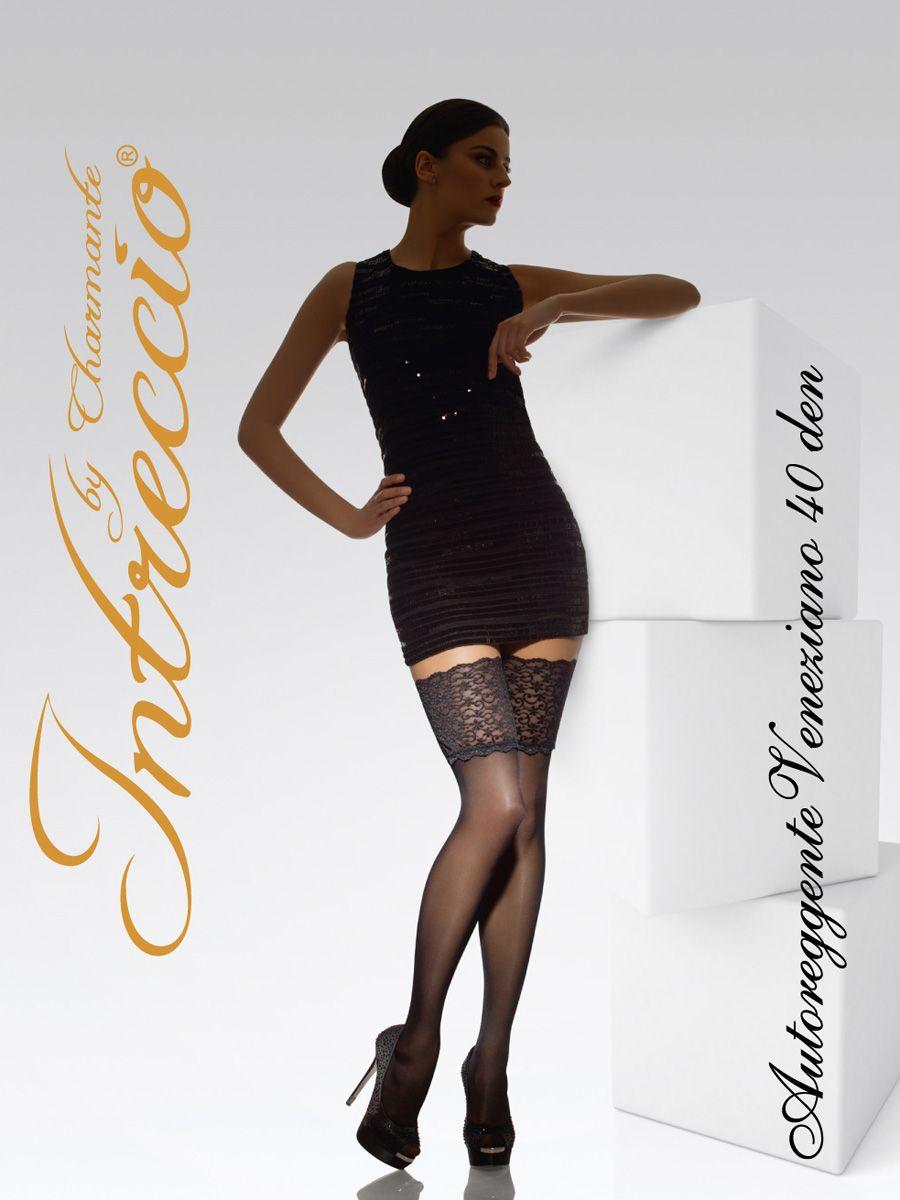 Чулки женские Charmante, цвет: бежевый. VENEZIANO 40. Размер 1/2VENEZIANO 40Элегантные чулки с широкой кружевной коронкой, украшенной изящной вышивкой. Укрепленный носочек, плоские швы и силиконовая резинка для особого комфорта.