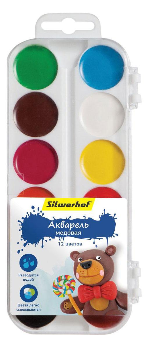 Silwerhof Акварель медовая Пластилиновая коллекция Мишка 12 цветов961123-12Медовая акварель Silwerhof позволит вашему малышу проявить весь свой творческий потенциал.В наборе - двенадцать разноцветных красок. Они прекрасно подходят для детского творчества и декоративных работ по холсту, бумаге и картону. Краски мягко ложатся на бумагу, оставляя яркий и четкий цвет. Они непременно порадуют юного художника своим качеством и насыщенностью цвета, а красочная коробочка поднимет ребенку настроение!Состав: декстрин, глицерин дистиллированный, сахар, мел, пигменты, консервант, вода питьевая.