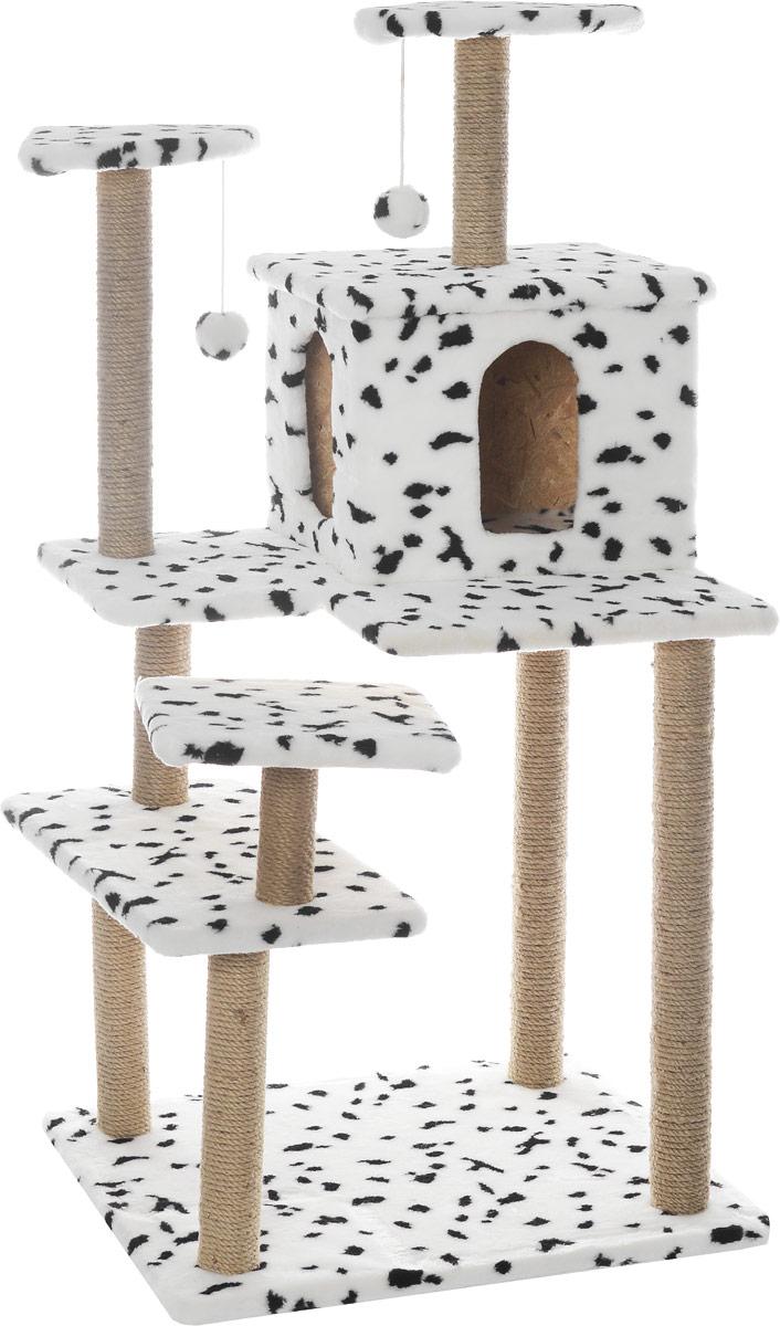 Игровой комплекс для кошек Меридиан Семейный, цвет: белый, черный, бежевый, 70 х 65 х 150 смД162ДИгровой комплекс для кошек Меридиан Семейный выполнен из высококачественного ДВП и ДСП и обтянут искусственным мехом. Изделие предназначено для кошек. Ваш домашний питомец будет с удовольствием точить когти о специальные столбики, изготовленные из джута. А отдохнуть он сможет либо на полках, либо в домике. Сверху имеются 2 подвесные игрушки, которые привлекут внимание кошки к когтеточке.Общий размер: 70 х 65 х 150 см.Размер полок: 31 х 31 см, 26 х 26 см (2 полки), 59 х 24 см.Размер домика: 41 х 33 х 35 см.
