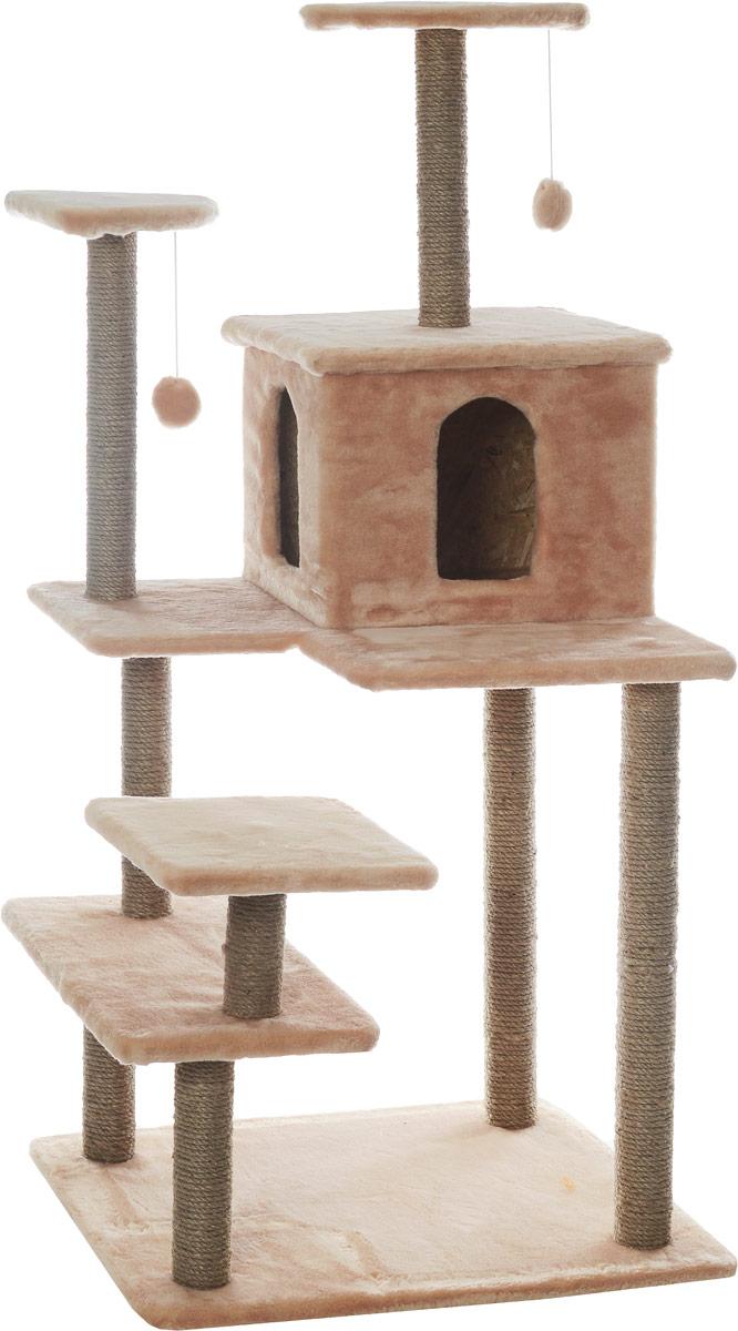 Игровой комплекс для кошек Меридиан Семейный, цвет: светло-коричневый, бежевый, 70 х 65 х 150 смД162СКИгровой комплекс для кошек Меридиан Семейный выполнен из высококачественного ДВП и ДСП и обтянут искусственным мехом. Изделие предназначено для кошек. Ваш домашний питомец будет с удовольствием точить когти о специальные столбики, изготовленные из джута. А отдохнуть он сможет либо на полках, либо в домике. Сверху имеются 2 подвесные игрушки, которые привлекут внимание кошки к когтеточке.Общий размер: 70 х 65 х 150 см.Размер полок: 31 х 31 см, 26 х 26 см (2 полки), 59 х 24 см.Размер домика: 41 х 33 х 35 см.
