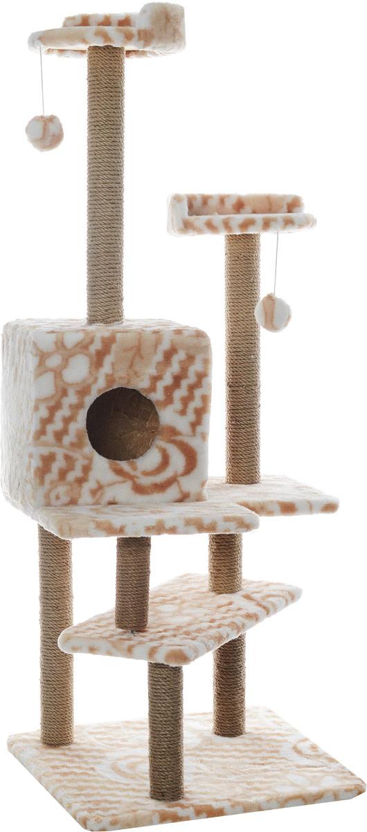 Игровой комплекс для кошек Меридиан Лестница, цвет: белый, бежевый, 56 х 50 х 142 смД151ЦвИгровой комплекс для кошек Меридиан Лестница выполнен из высококачественного ДВП и ДСП и обтянут искусственным мехом. Изделие предназначено для кошек. Ваш домашний питомец будет с удовольствием точить когти о специальные столбики, изготовленные из джута. А отдохнуть он сможет либо на полках, либо в домике. Общий размер: 56 х 50 х 142 см.Размер верхних полок: 27 х 27 см.Размер домика: 31 х 31 х 32 см.