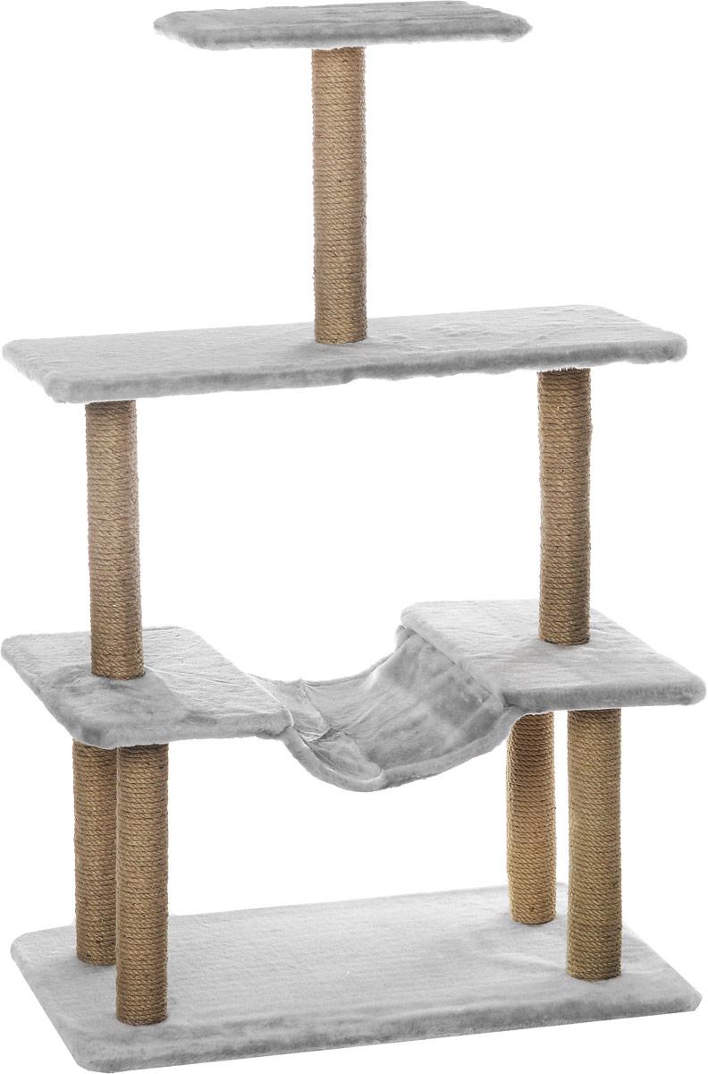 Когтеточка Меридиан, с гамаком, цвет: светло-серый, бежевый, 81 х 41 х 130 смК513ССКогтеточка Меридиан поможет сохранить мебель и ковры в доме от когтей вашего любимца, стремящегося удовлетворить свою естественную потребность точить когти. Когтеточка изготовлена из ДВП и ДСП и обтянута искусственным мехом. Товар продуман в мельчайших деталях и, несомненно, понравится вашей кошке. Ваш питомец может стачивать когти о столбики, выполненные из джута. А отдохнуть он сможет на одной из площадок или на гамаке.Всем кошкам необходимо стачивать когти. Когтеточка - один из самых необходимых аксессуаров для кошки. Для приучения к когтеточке можно натереть ее сухой валерьянкой или кошачьей мятой. Когтеточка поможет вашему любимцу стачивать когти и при этом не портить вашу мебель.Общий размер когтеточки: 81 х 41 х 130 см.Размер полок: 81 х 31 см, 41 х 27 см.
