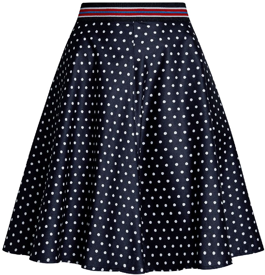 Юбка oodji Ultra, цвет: темно-синий, белый. 11600441/46663/7910D. Размер 38-170 (44-170)11600441/46663/7910DОчаровательна юбка солнце выполнена из натурального хлопка. юбка оформлена принтом в горошек. Сзади модель застегивается на потайную застежку-молнию.