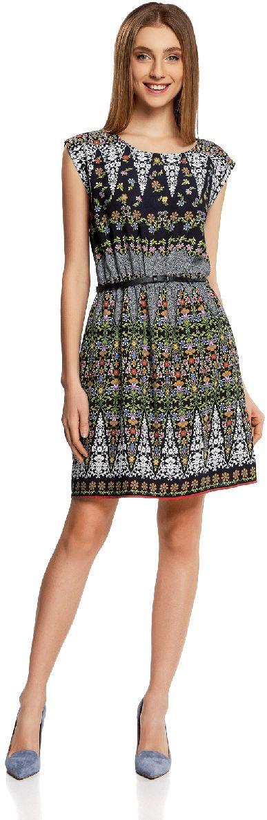 Платье oodji Ultra, цвет: черный, оранжевый. 11910073-5M/26346/2955F. Размер 40-170 (46-170) ремни oodji ремень