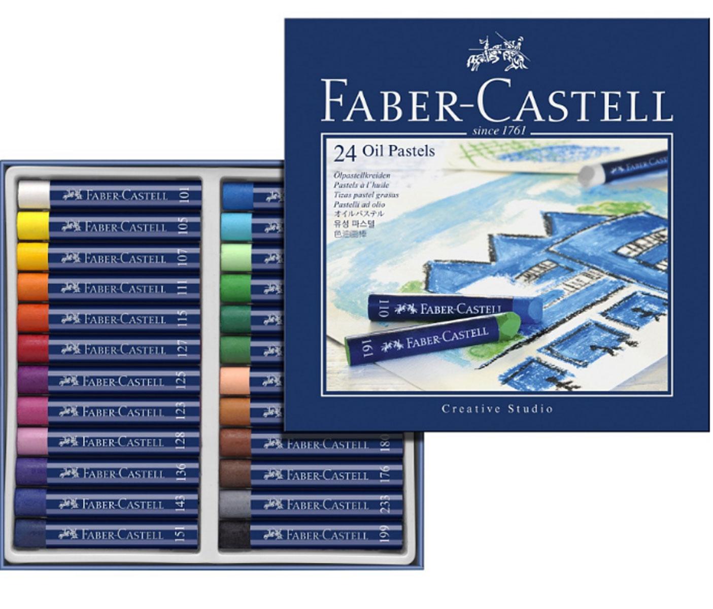 Faber-Castell Масляная пастель Studio Quality Oil Pastels 24 шт127024Набор Faber-Castell Studio Quality Oil Pastels содержит масляную пастель 24 ярких насыщенных цветов. Пастель выполнена в виде мелков круглой формы, каждый из которых обернут в бумажную гильзу. Мелки великолепного качества не крошатся при работе, обладают отличными кроющими свойствами, обеспечивают хорошее сцепление с поверхностью, яркость и долговечность изображения. Масляной пастелью Faber-Castell Studio Quality Oil Pastels можно рисовать в любой технике, сочетая ее с цветными карандашами и красками. При работе рекомендуется использовать шероховатые поверхности - специальную бумагу, картон, холст.