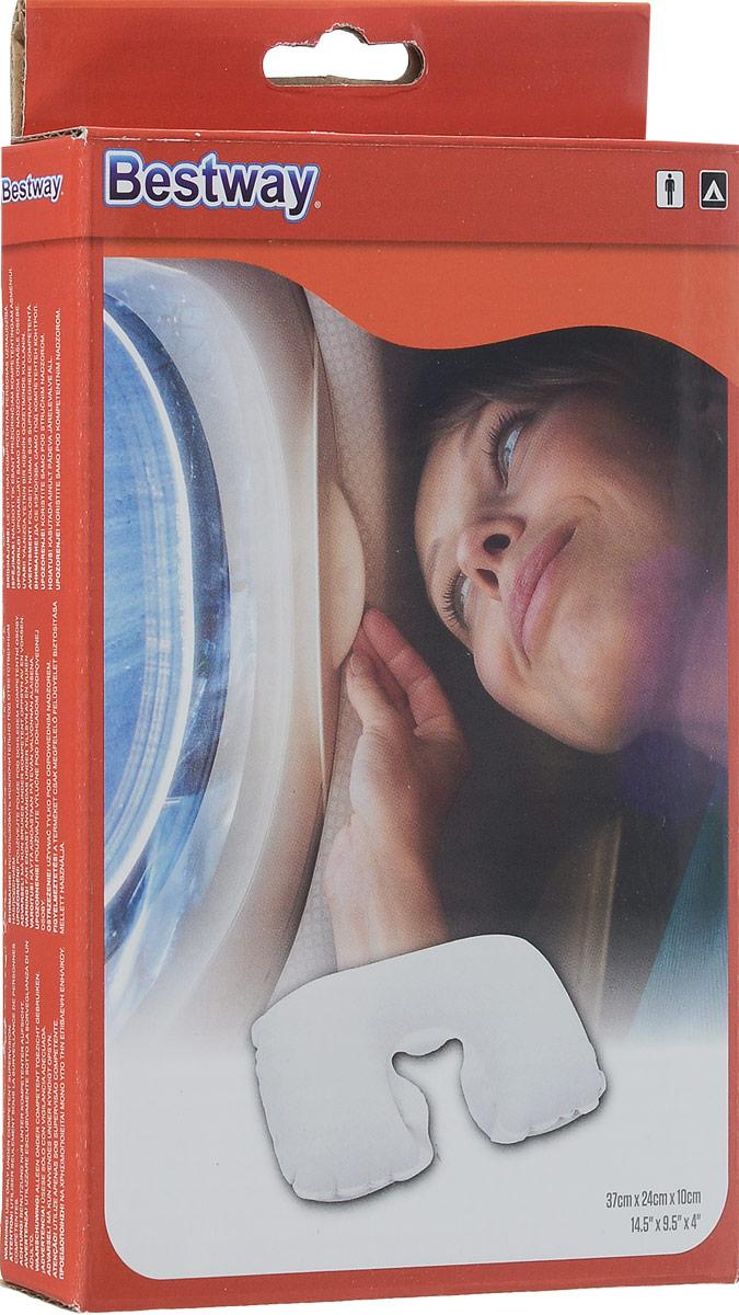 BestwayПодушка надувная под шею, цвет:  серый, флокированная, 46 х 28 см Bestway