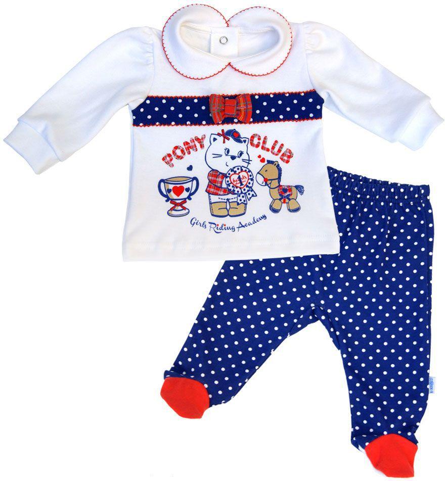 Комплект одежды для девочки СовенокЯ Пони клуб: кофта, ползунки, цвет: белый, синий, красный. 2-10391. Размер 74