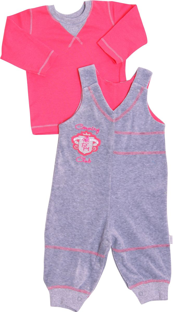 Комплект одежды для девочки СовенокЯ Неон: кофта, полукомбинезон, цвет: серый, розовый. 7-10185. Размер 80