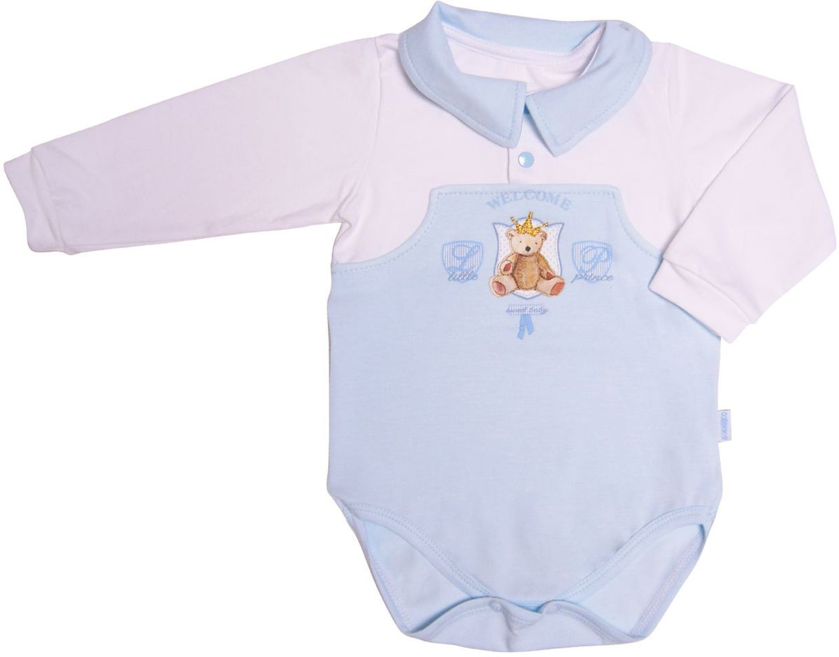 Фото Боди для мальчика СовенокЯ Маленький принц, цвет: белый, голубой. 34-7122. Размер 74