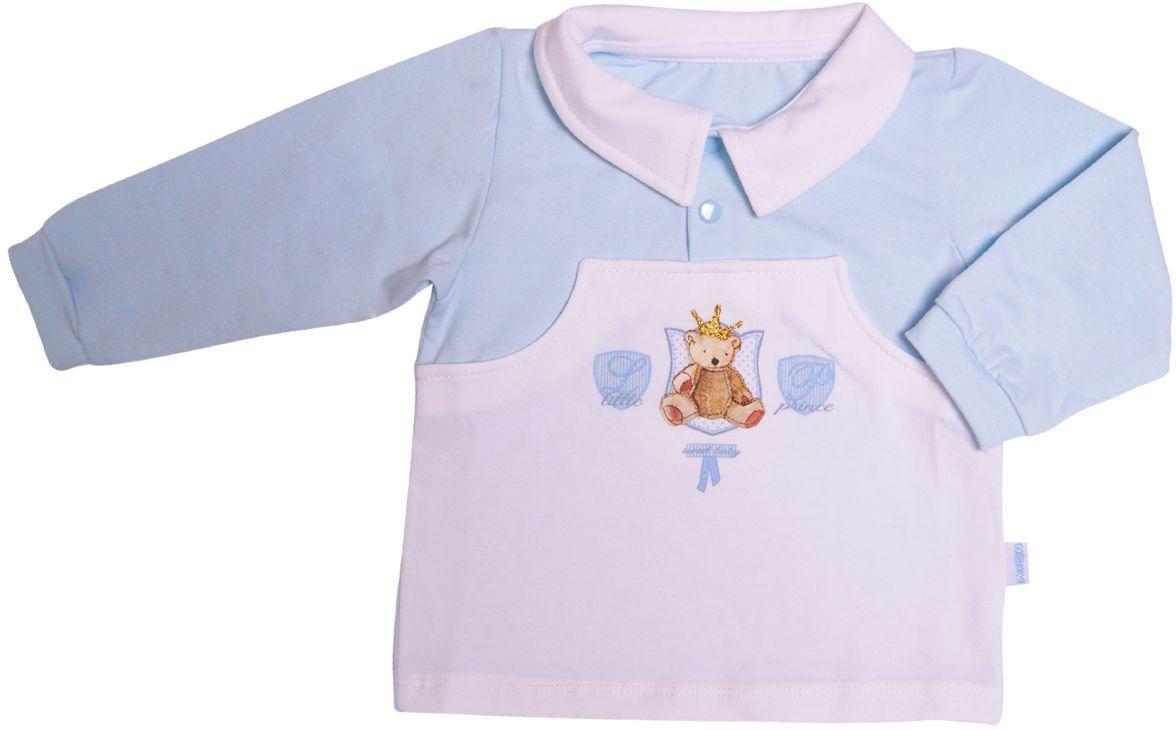 Кофточка для мальчика СовенокЯ Маленький принц, цвет: белый, голубой. 34-2262. Размер 62