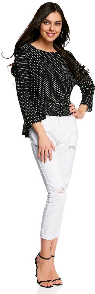 Блузка женская oodji Ultra, цвет: черный, белый. 11405136/46436/2910D. Размер 38-170 (44-170)11405136/46436/2910DБлузка женская oodji Ultra выполнена из высококачественного материала. Модель с круглым вырезом горловины сзади застегивается на пуговицу. Блуза оформлена снизу воланами.