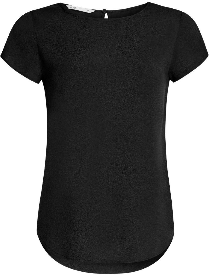 Блузка женская oodji Ultra, цвет: черный. 11411138B/46249/2900N. Размер 38-170 (44-170) блузка женская oodji ultra цвет черный 11411126 45873 2900n размер 40 46 170