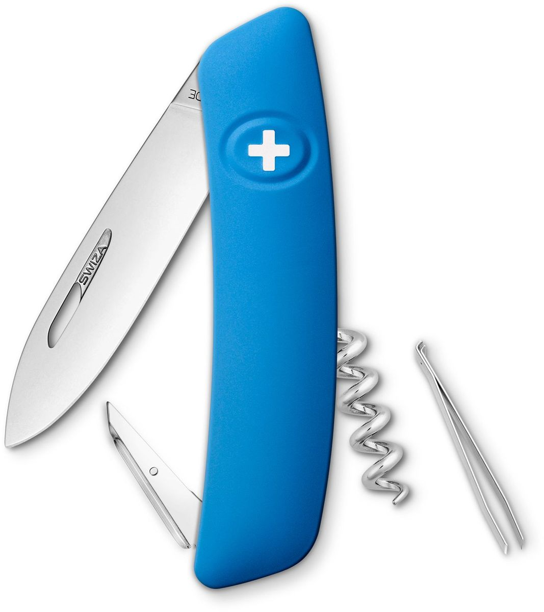 Нож швейцарский SWIZA D01, цвет: синий, длина клинка 7,5 смKNI.0010.1030 Швейцарский нож (SWIZA D01) с его революционной формой и безопасной рукояткой, легко раскладываемой ручкой - самый удобный и простой в использовании швейцарский нож на все времена. Эргономично изогнутая форма ножа обеспечивает более легкий доступ к инструментам, а пазы позволяют легко их открывать, как левой, так и правой рукой. Пожизненная гаратния на ножи SWIZA обеспечивают долговременное использование1. нож перочинный ,2. штопор, 3. ример/дырокол4. шило, 5. безопасная блокировка лезвий,6. пинцет