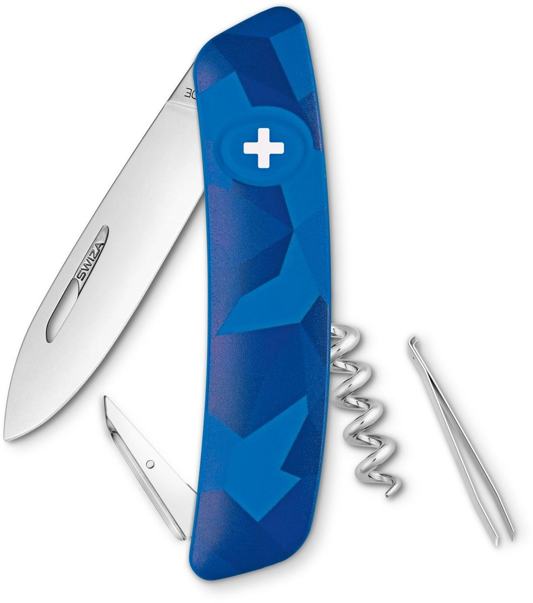 Нож швейцарский SWIZA C01, цвет: синий, длина клинка 7,5 см