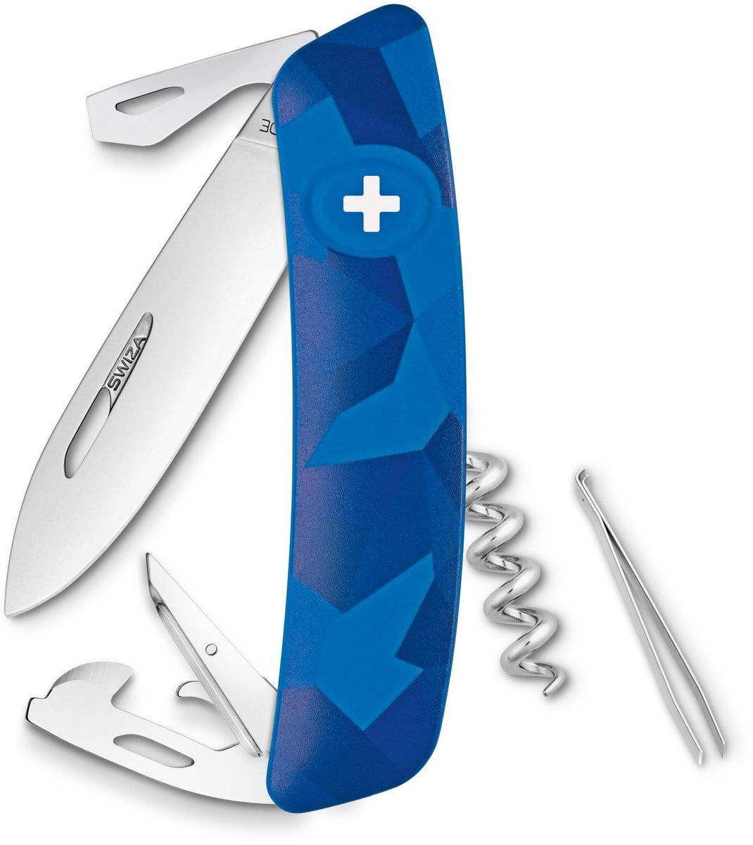 Нож швейцарский SWIZA С03, цвет: синий, длина клинка 7,5 см