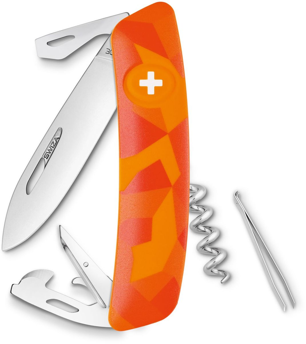 Нож швейцарский SWIZA С03, цвет: оранжевый, длина клинка 7,5 см