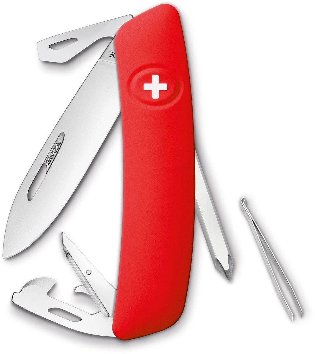 Нож швейцарский SWIZA D04, цвет: красный, длина клинка 7,5 см