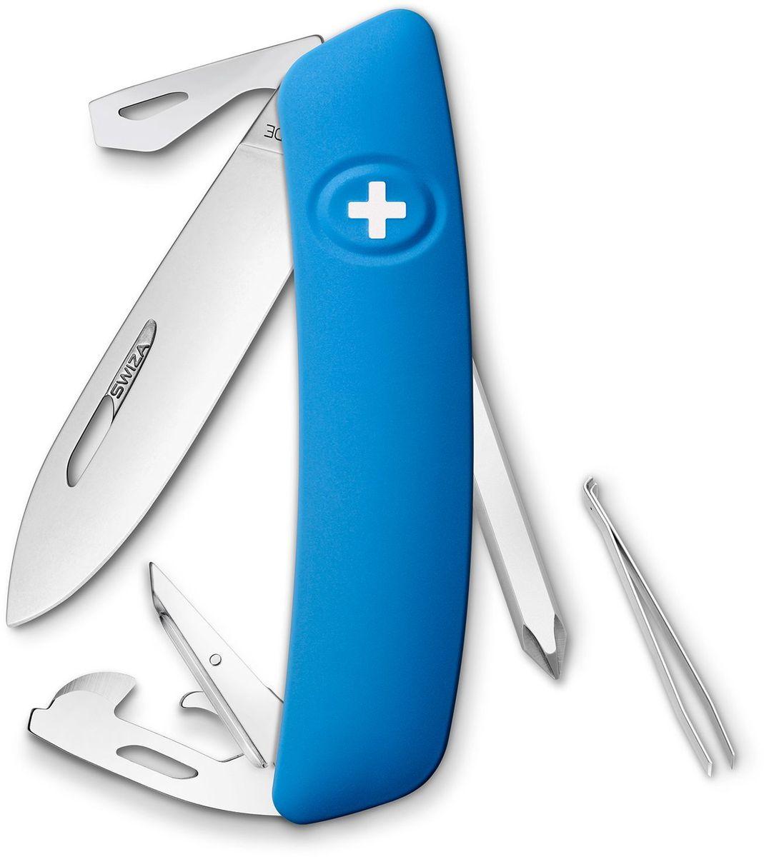 Нож швейцарский SWIZA D04, цвет: синий, длина клинка 7,5 смKNI.0040.1030Швейцарский нож SWIZA D04 с его революционной формой и безопасной рукояткой, легко раскладываемой ручкой - самый удобный и простой в использовании швейцарский нож на все времена. Эргономично изогнутая форма ножа обеспечивает более легкий доступ к инструментам, а пазы позволяют легко их открывать, как левой, так и правой рукой. Инструменты:-нож перочинный,-отвертка Phillips, -ример/дырокол,-шило, -безопасная блокировка лезвий,-пинцет, -консервный нож, -Wire Bender (для проволоки),-отвертка №1,-отвертка №3,-открывалка для бутылок.