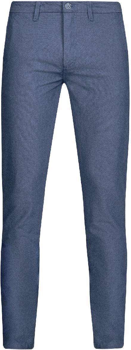 Брюки мужские oodji Lab, цвет: синий, голубой. 2L150095M/44310N/7570O. Размер 46-182 (54-182)2L150095M/44310N/7570OМужские брюки oodji Lab выполнены из высококачественного материала. Модель-слим стандартной посадки застегивается на пуговицу в поясе и ширинку на застежке-молнии. Пояс имеет шлевки для ремня. Спереди брюки дополнены втачными карманами, сзади - прорезными на пуговицах.