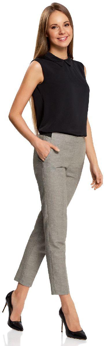 Брюки женские oodji Ultra, цвет: серый, белый меланж. 11706203-6/19801/2312M. Размер 40-170 (46-170) брюки oodji oodji oo001ewjeg76