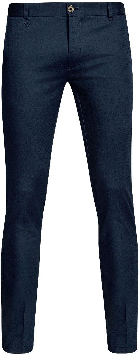 Брюки мужские oodji Lab, цвет: темно-синий. 2L210194M/46581N/7900N. Размер 44-182 (52-182)2L210194M/46581N/7900NМужские брюки oodji Lab выполнены из высококачественного материала с мелким жаккардовым узором. Модель стандартной посадки застегивается на пуговицу в поясе и ширинку на застежке-молнии. Пояс имеет шлевки для ремня. Спереди брюки дополнены втачными карманами, сзади - прорезными.