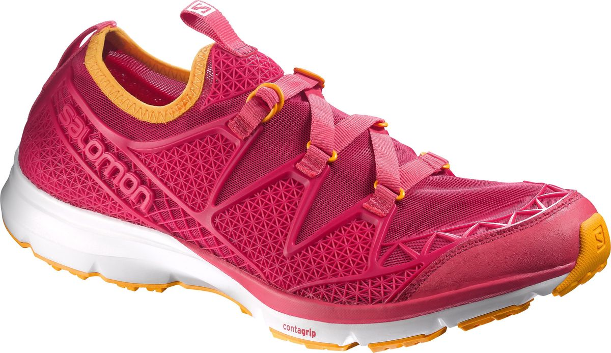 Кроссовки женские Salomon Crossamphibian W, цвет: розовый. L37968000. Размер 7 (39)L37968000Женские кроссовки от Salomon - незаменимая обувь в вашем гардеробе. Модель, выполненная из высококачественного материала, дарит комфорт и легкость во время ходьбы или бега. Верх изделия оформлен эластичной шнуровкой, которая надежно фиксирует обувь на ноге. Подкладка и стелька, изготовленные из текстиля, обеспечат комфорт и уют вашим ногам. На заднике кроссовки декорированы логотипом бренда. Рифленая подошва обеспечит прочное сцепление с любой поверхностью. Такие кроссовки отлично подходят для интенсивных нагрузок.