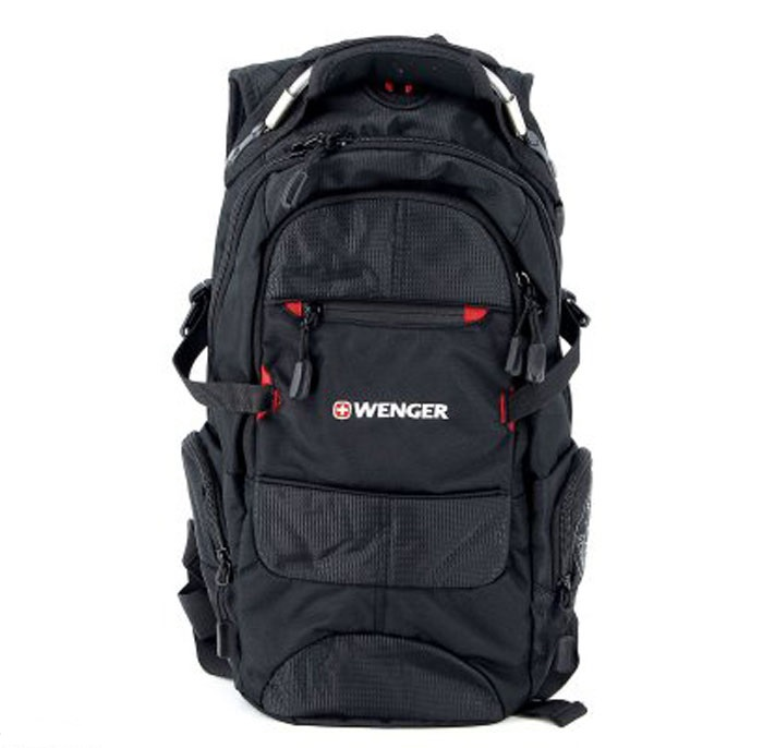 Рюкзак Wenger Narrow Hiking Pack, цвет: черный, красный, 46 х 23 х 14 см, 19 л13022215Рюкзак Wenger Narrow Hiking Pack - это самодостаточный, многофункциональный и надежный спутник своего владельца, как и знаменитый швейцарский нож! Благодаря многофункциональности рюкзака, вы можете легко организовать свои вещи, отправив ключи, мобильный телефон и еще тысячу мелочей в специальный карман-органайзер. После этого останется еще много места для других необходимых вещей. Рюкзаки и сумки Wenger - это прежде всего современные материалы и фурнитура от надежных поставщиков и швейцарский контроль качества, благодаря которому репутация компании была и остается столь высокой. Продуманная конструкция и современные технологии проявляются главным образом в потрясающей надежности рюкзаков и сумок Wenger. А ведь надежность - самое важное качество и в амуниции, и в людях! Особенности рюкзака:Внешние карманы: многочисленные внешние карманы обеспечивают легкий доступ к наиболее часто используемым предметам. Плечевые ремни: эргономичные плечевые ремни анатомической формы с регулируемыми поясным и грудным ремнями. Карман для мелких предметов: внутренний карман-органайзер включает съемную ключницу и раздельные кармашки для ручек, карандашей, мобильного телефона и CD дисков. Ручка для переноски: удобная ручка сочетает в себе высокую прочность авиационного троса и мягкость каучука. Шнурки на застежках-молниях: шнурки на застежках-молниях позволяют быстро и легко открывать карманы рюкзака даже в перчатках. Отверстия для провода наушников: внутренний карман с отверстием для ввода наушников обеспечит сохранность CD или МР3 плеера.
