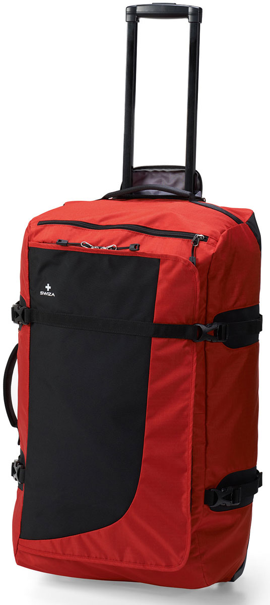 Сумка дорожная SWIZA Continuas L, на колесах, цвет: красный, 69 х 38 х 28 смLWD.1003.03Сумка SWIZA Continuas L на колесах - это лучшая сумка для активного путешественника, которому необходимо многофункциональное и очень надежное решение для любой поездки. Изготовлена из прочного нейлона 600D и имеет большое основное отделение, карман на молнии для широкого применения, прижимающий ремешок, легко вращающиеся износостойкие колеса и телескопическую ручку. С сумкой SWIZA Continuas L можно собираться в путь в любой пункт назначения и на любое время