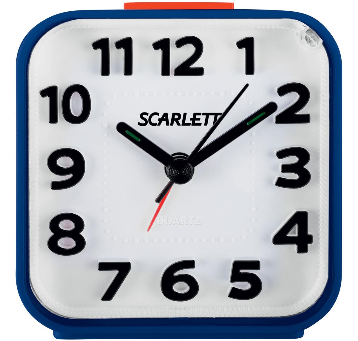 Scarlett SC-AC1014N, Blue будильник электронныйSC-AC1014NБудильник Scarlett SC-AC1014N имеет надежный кварцевый часовой механизм и плавный бесшумный ход. Данная модель также оснащена встроенной функцией подсветки и повтора сигнала (Snooze). Питание осуществляется от одной батарейки типа АА (в комплект не входит).