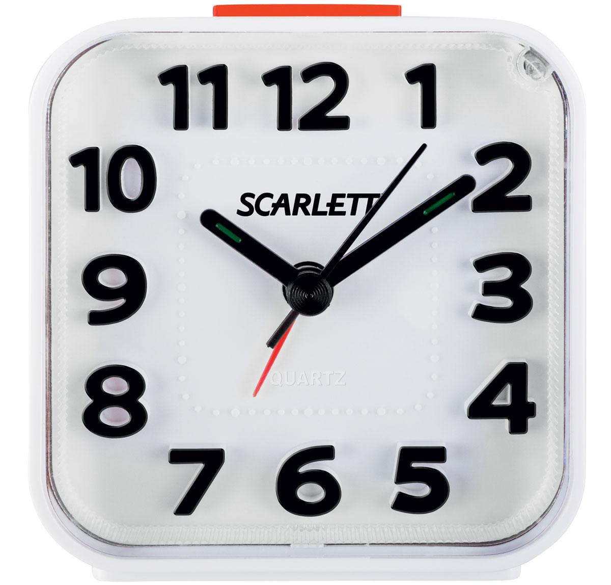 Scarlett SC-AC1012W, White будильник электронныйSC-AC1012WБудильник Scarlett SC-AC1012W имеет надежный кварцевый часовой механизм и плавный бесшумный ход. Данная модель также оснащена встроенной функцией подсветки и повтора сигнала (Snooze). Питание осуществляется от одной батарейки типа АА (в комплект не входит).