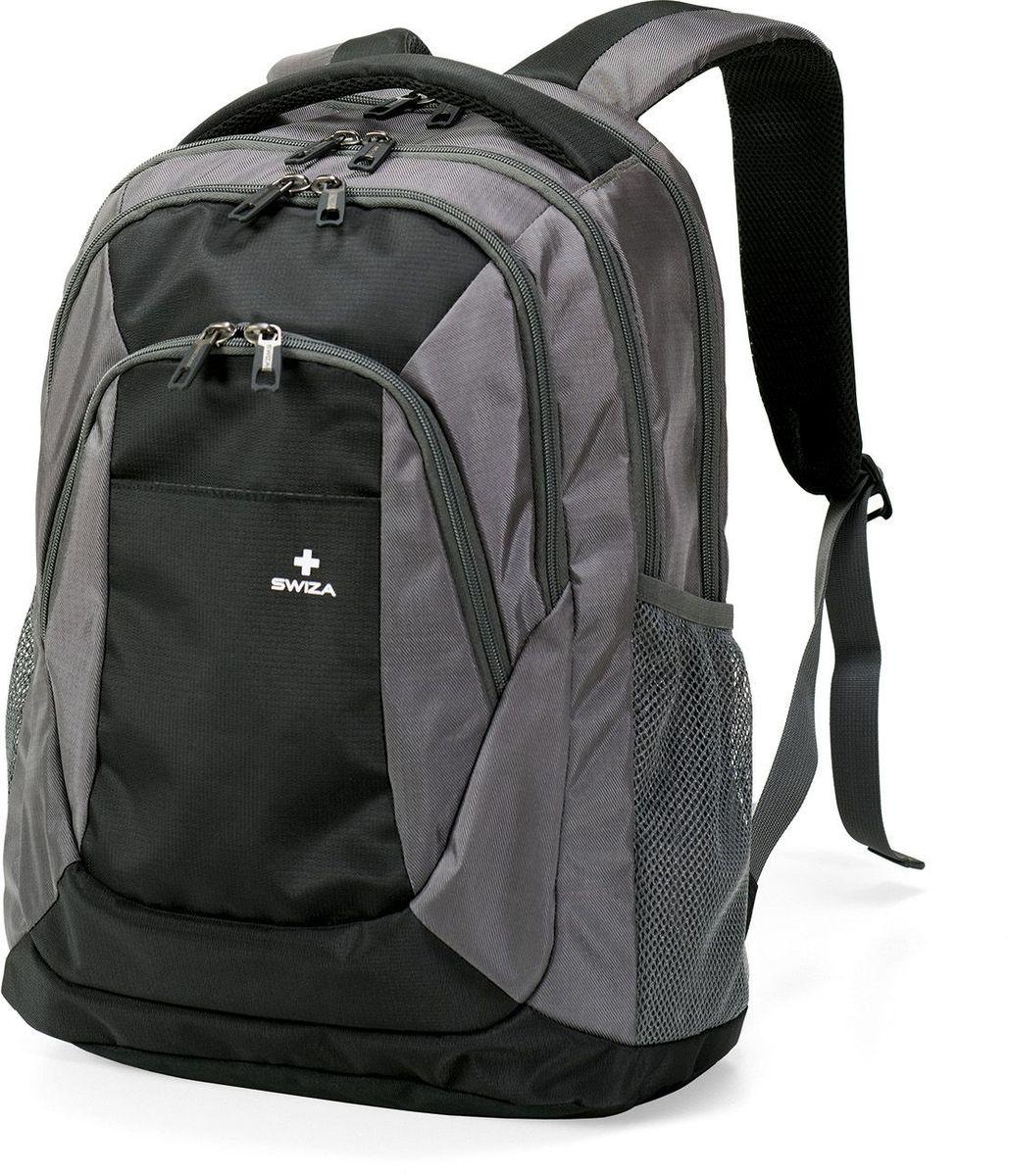 Рюкзак городской SWIZA Aulus, цвет: серый, 20 лBBP.1003.01Рюкзак SWIZA Aulus цвета предназначен для студентов или офисных сотрудников, а также отлично подойдет и для повседневного использования. Стильный рюкзак изготовлен в классическом стиле и имеет хорошо продуманную и многофункциональную систему внутреннего наполнения карманов и отделов. В рюкзаке есть два основных отделения и специальный передний карман. Специальное отделение для ноутбука с независимым замком, позволяет носить в рюкзаке ноутбуки размером до 17. Для удобства использования в рюкзаке есть специальный сетчатый держатель для бутылок.В рюкзаке имеется также вентилируемая анатомическая спинка на мягкой прокладке, которая позволяет носить даже тяжелый груз с комфортом.В таком рюкзаке поместятся, и будут находиться в максимально удобных для быстрого доступа местах, все необходимые документы, электронные устройства и прочие мелочи, без которых не выйдешь из дома.Размер рюкзака: 33 х 46 х 19 см.