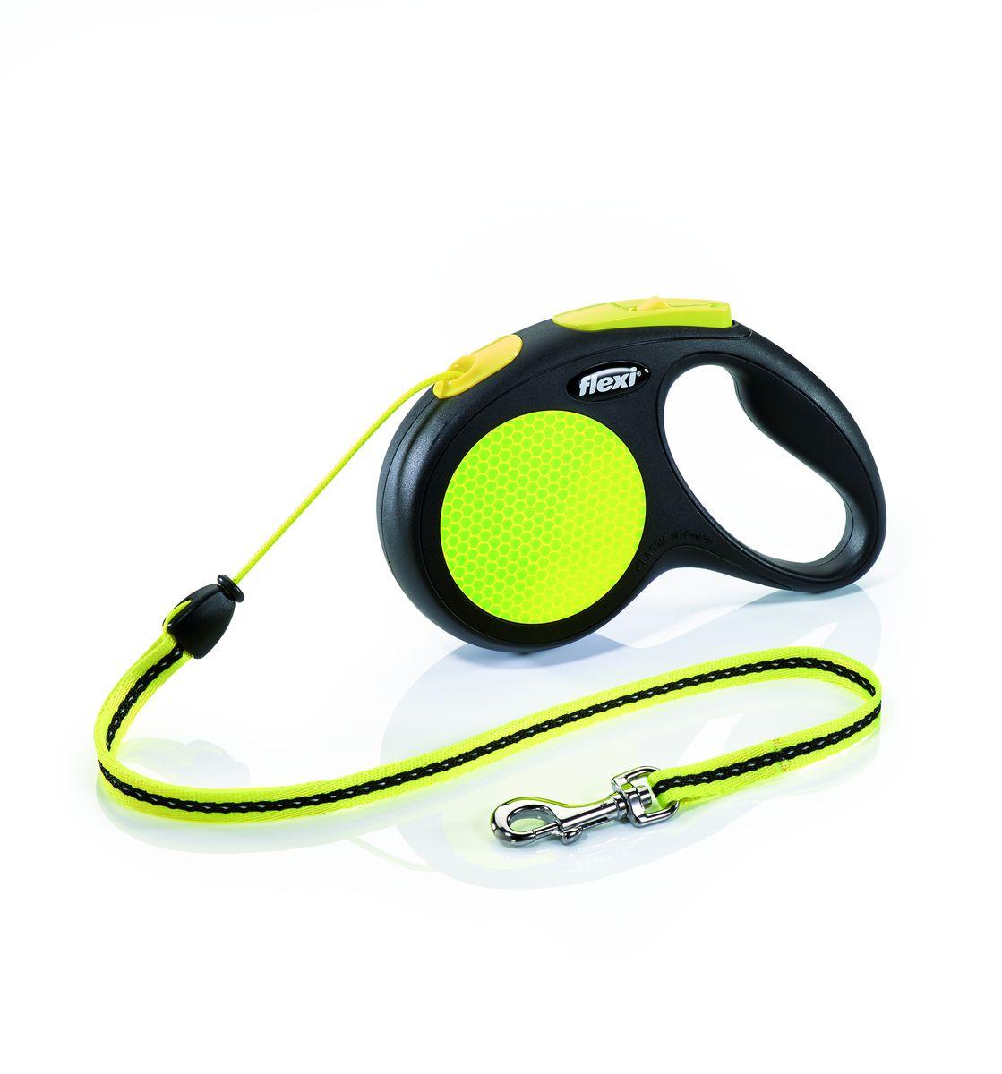 Поводок-рулетка Flexi Neon New Classic М, трос, для собак весом до 20 кг, 5 м поводки triol поводок рулетка