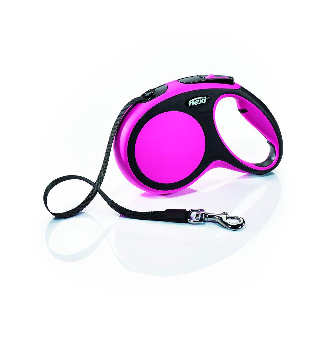 Поводок-рулетка Flexi New Comfort М, лента, для собак весом до 25 кг, цвет: черный, розовый, 5 м28216Ленточный поводок-рулетка обеспечивает собаке свободу движения, что идет на пользу здоровью и радует вашего четвероногого друга. Рулетка очень проста в использовании. Оснащена кнопками кратковременной и постоянной фиксации. Рулетку можно оснастить - мультибоксом для лакомств или пакетиков для сбора фекалий, LED подсветкой корпуса.Прочный корпус, хромированная застежка и светоотражающие элементы.Лента поводка автоматически сматывается и поводок в процессе использования не провисает, не касается грунта и таким образом не пачкается и не перетирается. Поводок не нужно подбирать руками когда питомец подошел ближе, таким образом ваши руки всегда чистые.На рукоятке имеется колесико позволяющее адаптировать размер рукоятки под размер рукиМаксимальный вес питомца: 25 кг.Длина: 5 м.