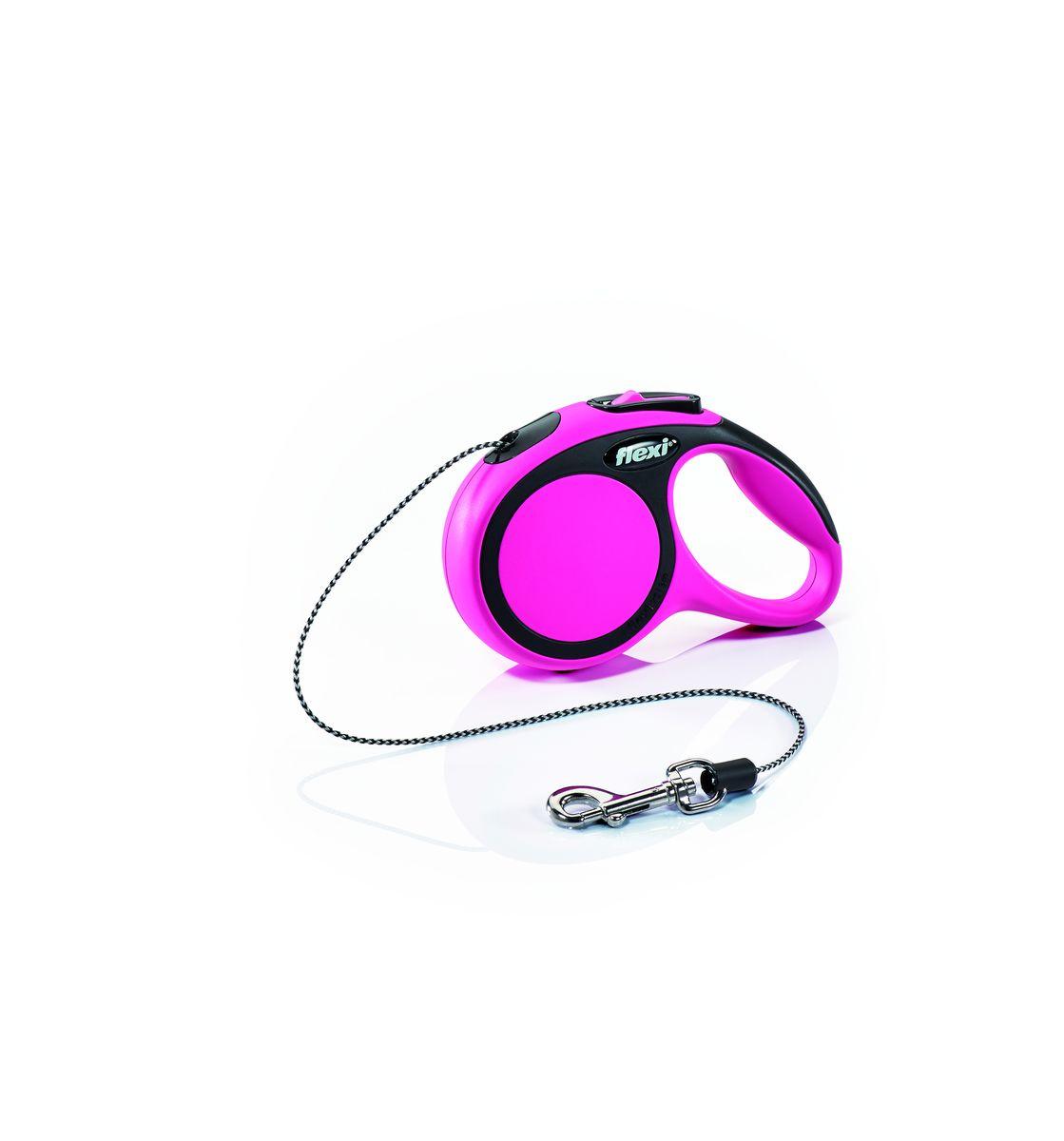 """Поводок-рулетка Flexi """"New Comfort"""", трос, для собак весом до 8 кг, цвет: черный, розовый, 3 м. Размер XS"""