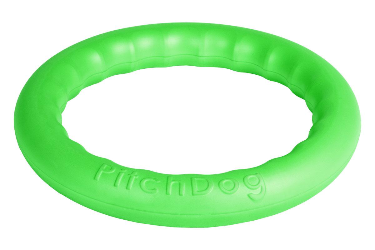 Кольцо игровое для аппортировки PitchDog, цвет: зеленый, диаметр 28 см62385Инновационная игрушка для собак всех пород и возрастов, предназначенная как для повседневной игры, так и для использования в качестве идеального апортировочного снаряда для занятий Pitch & Go (питч энд гоу). Изготовлена из особого легкого и безопасного материала, который очень нравится собакам и позволяет играть с PitchDog (ПитчДог) как на суше, так и в воде.Диаметр 28 см.