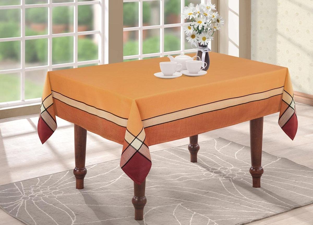 Скатерть жаккардовая ТД Текстиль, цвет: оранжевый, 120 х 160 см92193Великолепная скатерть жаккардовая ТД Текстиль, изготовленная из 100% полиэстера, создаст атмосферу уюта и домашнего тепла в интерьере вашей кухни. Изделия из полиэстера уже давно стали известны всему миру не только своей прочностью и износостойкостью, но и элегантным, благородным внешним видом. Такой материал прослужит вам не один десяток лет.Скатерть органично впишется в интерьер любого помещения, а оригинальный мотив удовлетворит даже самый изысканный вкус. Желательно ручная стирка, что бы ткань дала усадку, после высыхания подлежит глажению для восстановления первоначального вида.