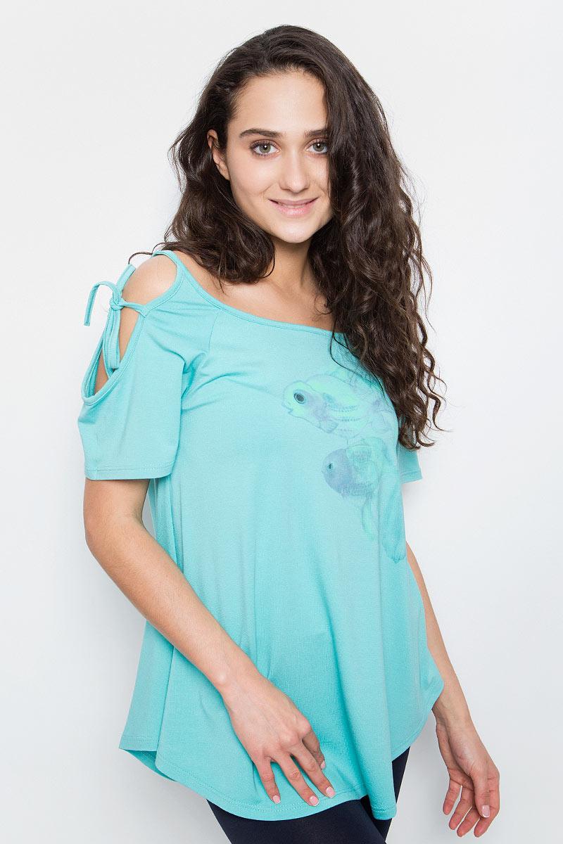 Купить Футболка женская Grishko, цвет: бирюзовый. AL-3100. Размер XS (42)