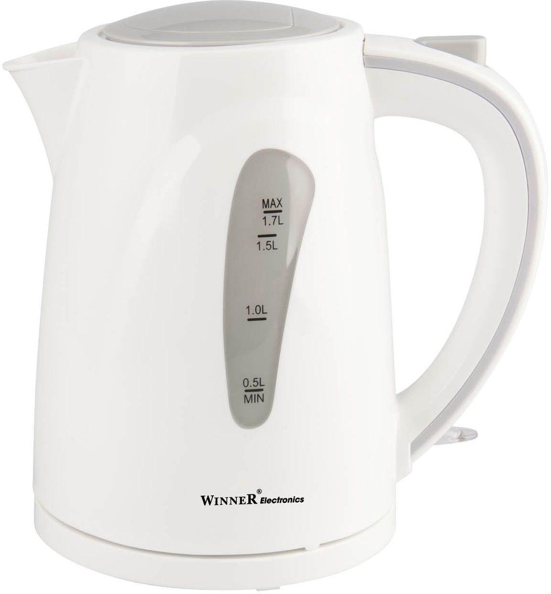 Winner WR-121, White электрический чайникWR-121В чайнике Winner WR-121 гармонично сочетаются отличные эксплуатационные характеристики и эргономичный дизайн. Нагревательный элемент из нержавеющей стали обеспечивает быстрое закипание воды. Наполнять прибор можно через носик, не открывая крышки. Противоскользящее покрытие гарантирует устойчивость. Вы можете быть уверены в безопасности использования прибора благодаря функции автоматического отключения при отсутствии воды и после закипания.