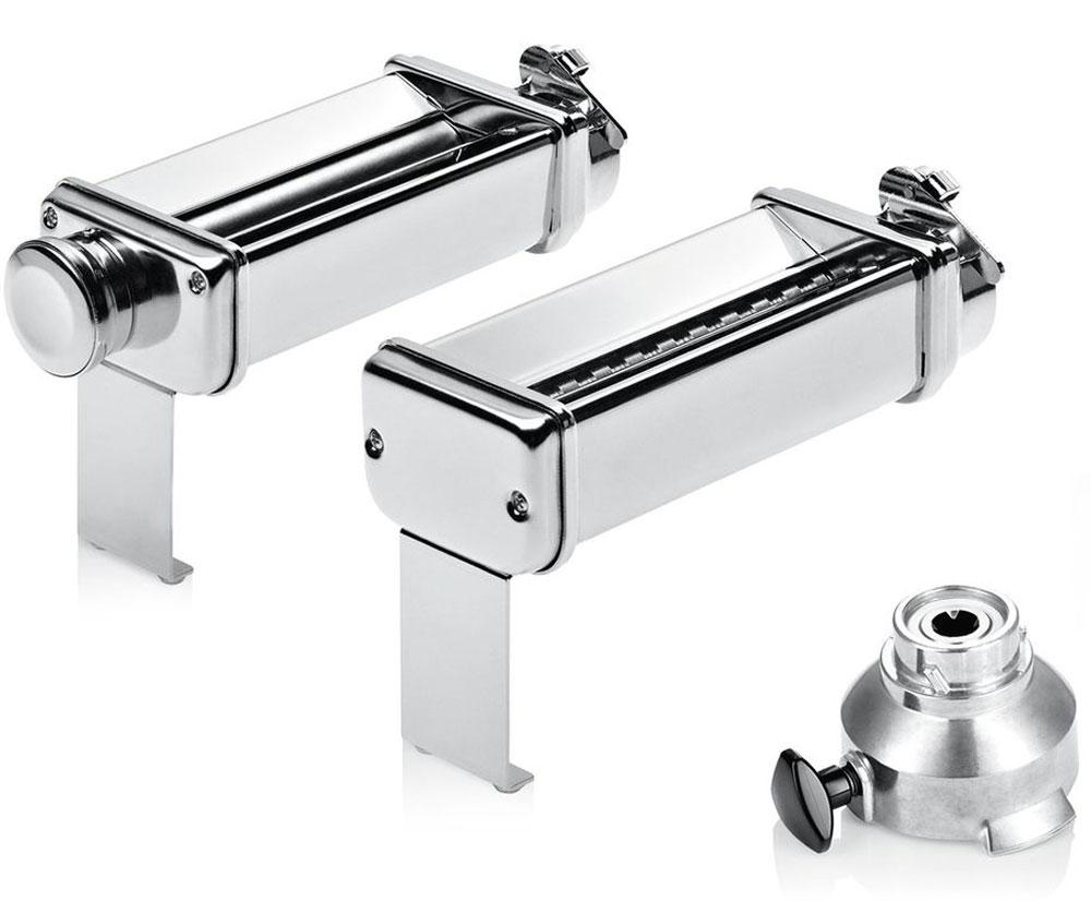 Bosch MUZXLPP1 насадки для приготовления лазаньи и лапши для кухонных комбайнов, 2 штMUZXLPP1Две профессиональные насадки Bosch MUZXLPP1 для раскатки теста (для лазаньи) и для приготовления лапши (тальятелле). Формирует тесто в листы для приготовления лазаньи. Насадка для лапши нарезает пласты теста на полосы в 7 мм.