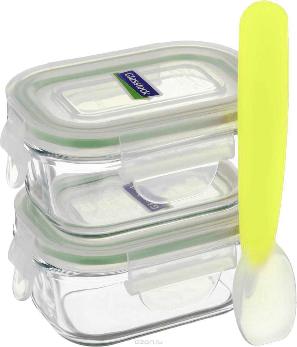 Набор контейнеров Glasslock YumYum, с ложкой, 3 предметаGL-268Набор Glasslock YumYum состоит из двух прямоугольных контейнеров и силиконовой ложки, которые идеально подходят для детского питания. Изделия выполнены из экологически чистого закаленного ударопрочного стекла и оснащены пластиковыми крышками, которые закрываются на защелки. Силиконовый уплотнитель позволяет крышкам плотнее закрываться, создавая 100% герметичность и воздухонепроницаемость. В таких контейнерах пища дольше останется свежей и вкусной. Размер контейнеров идеально подходит для хранения детского питания. Можно мыть в посудомоечной машине и использовать в микроволновой печи. Подходят для хранения пищи в холодильнике и морозильной камере. Не использовать в духовке.Объем контейнеров: 150 мл. Внутренний размер контейнеров: 8,5 х 5,5 см. Высота контейнеров (с крышкой): 5 см.Длина ложки: 14,5 см.Размер рабочей части: 4 х 2,5 см.