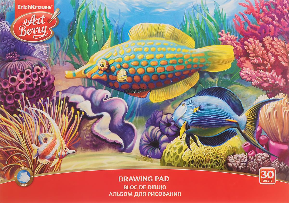 Erich Krause Альбом для рисования Рыбки и ракушки 30 листов35163_синяя рыбка и ракушкаАльбом для рисования Erich Krause с изображением подводного царства непременно порадуетмаленького художника и вдохновит его на творчество. Высокое качество бумаги позволяет карандашам, фломастерам и краскам ровно ложиться на поверхность и не растекаться по листу. Способ крепления - клеевой. Во время рисования совершенствуется ассоциативное, аналитическое и творческое мышление. Занимаясь изобразительным творчеством, ребенок тренирует мелкую моторику рук, становится более усидчивым и спокойным и, конечно, приобщается к общечеловеческой культуре.