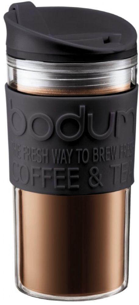 Термокружка Bodum Travel, цвет: черный, 350 мл11103-01Термокружка Bodum Travel обязательно будет кстати в путешествии. Кружка выполнена из пластика и оснащена закручивающейся крышкой, в которой есть небольшой клапан с отверстием для питья. Это исключает выплескивание жидкости и позволяет использовать кружку даже во время поездок в автомобиле.Такая кружка будет незаменима на пикнике, в офисе, в автомобильной поездке.