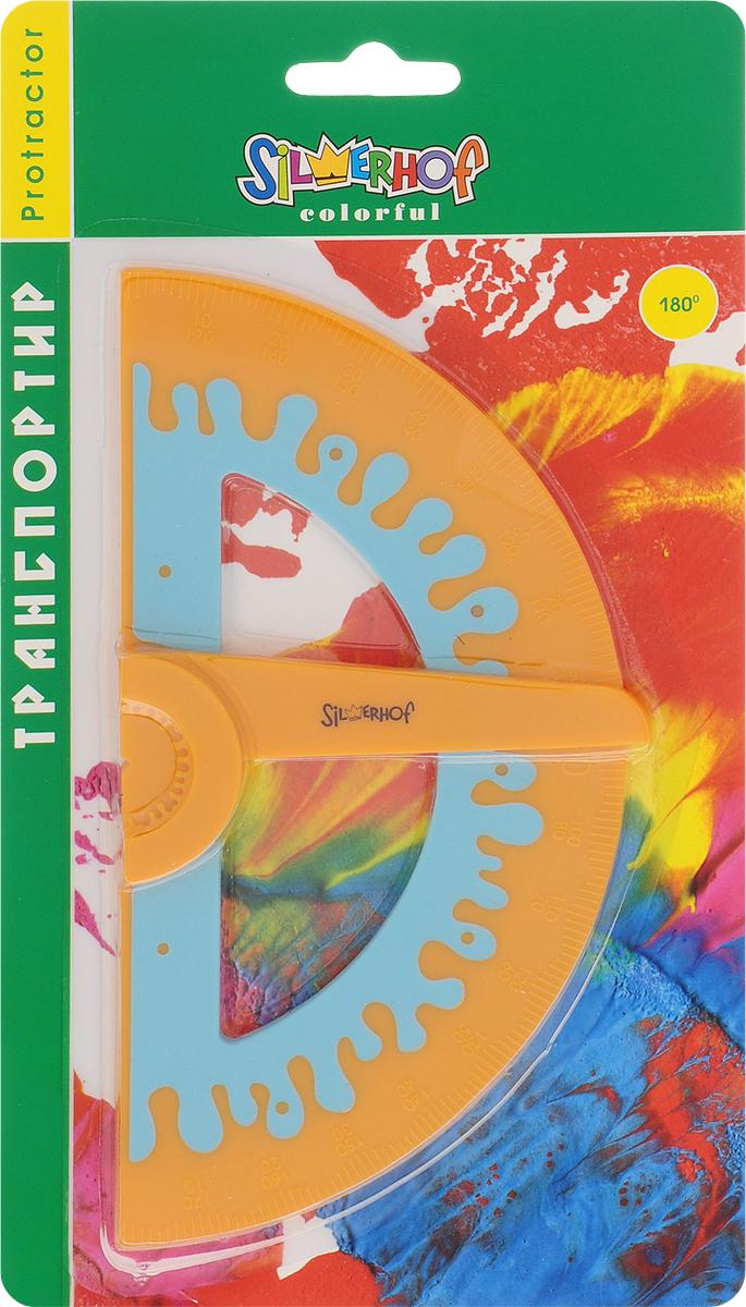 Silwerhof Транспортир Colorful 180 градусов цвет оранжевый160071Транспортир Silwerhof 180 градусов с механизмом выставления угла и прорезиненным корпусом выполнен из непрозрачного цветного пластика с ровной четкой шкалой делений.