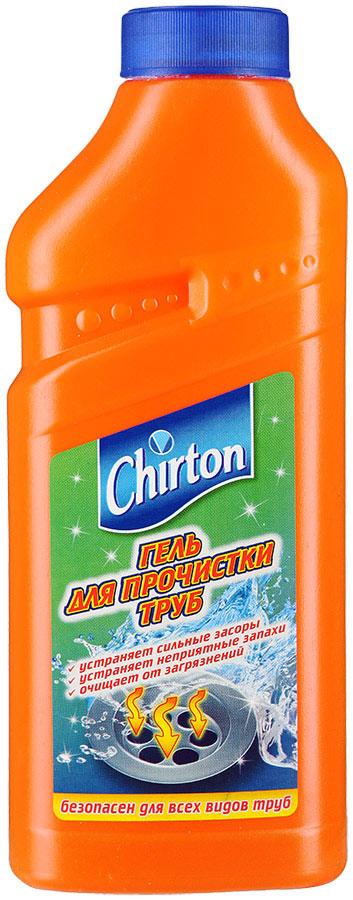 """Гель для прочистки труб """"Chirton"""" очищает канализационную систему от засоров   и загрязнений. Эффективно   растворяет бумагу, волосы, пищевые отходы и другие загрязнения   органического происхождения.  Особенности геля """"Chirton"""":- Устраняет сильные засоры лучше, чем традиционные методы и средства.- Прочищает, устраняет неприятные запахи.- Проникает глубоко в трубу даже при наличии воды в раковине.- Идеально подходит для всех видов металлических и пластиковых труб. Товар сертифицирован.  Уважаемые клиенты!Обращаем ваше внимание на возможные изменения в дизайне упаковки.   Качественные характеристики товара   остаются неизменными. Поставка осуществляется в зависимости от наличия на   складе.    Как выбрать качественную бытовую химию, безопасную для природы и людей. Статья OZON Гид"""