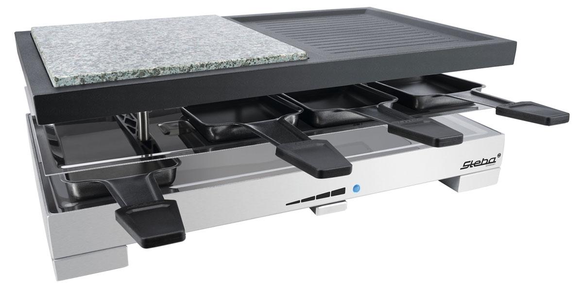 Steba RC 88 раклетницаRC 88Комбинированная раклетница-гриль Steba RC 88 включает в комплект 8 минипротивней с антипригарным покрытием с возможностью приготовления порционных блюд и 8 лопаток. Для удобства пользователей есть регулируемый термостат со световым индикатором. Комбинированная рабочая поверхность (рифленая и камень) идеально подойдет для приготовления совершенно разных продуктов. Горячий камень позволяет готовить пищу без жира.Размер рабочей поверхности гриля: 40 см х 23,5 смПластина гриля из литого алюминия с антипригарным покрытием