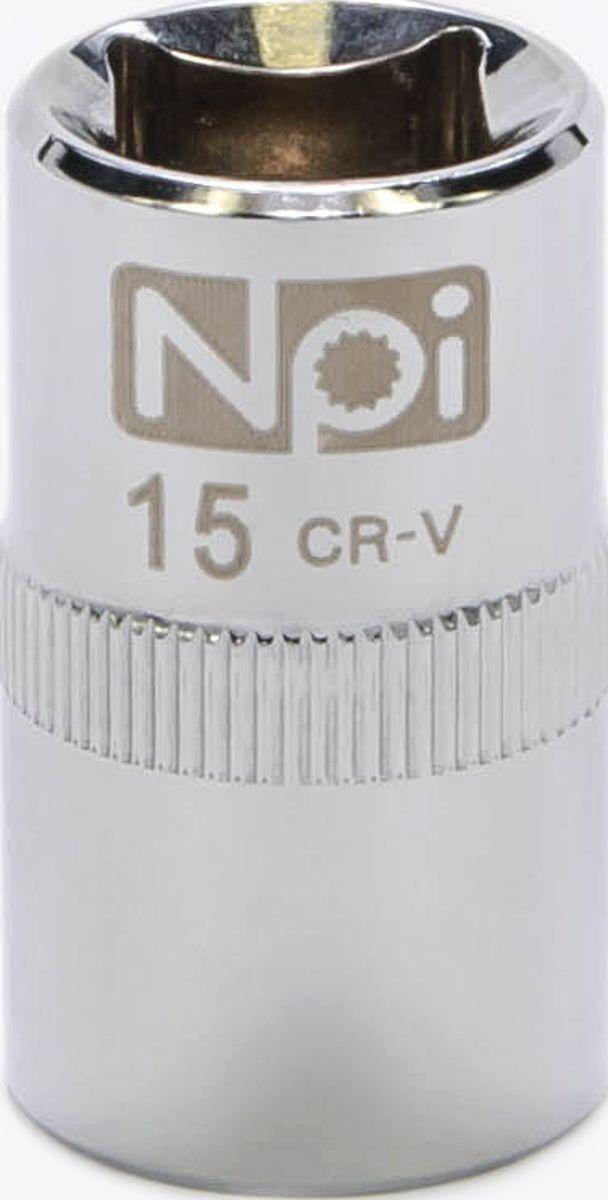 Головка торцевая NPI SuperLock, 1/2, 15 мм20015Торцевая головка NPI выполнена из высокопрочная хром-ванадиевой стали и применяется с гайковертами, трещетками, воротками. Торцевая головка выполнена по технологии Суперлок. Торцевая головка обеспечивает максимальный крутящий момент по отношению к резьбе и выдерживает ударные нагрузки. Размер ключа (метрический): 15 мм.Размер ключа (дюймы): 1/2 .Посадочный размер: 1/2.Длина головки: 38 мм.